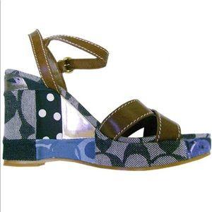 "COACH ""Alina"" patchwork signature wedge sandal"